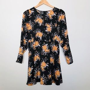 Free People Black Fitted Floral Dress Size 0